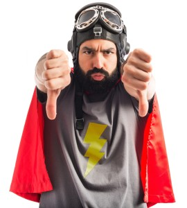 Superhero doing bad signal